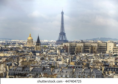 Paris day panorama of city center with Eifel tower. Architecture old city Paris. France.