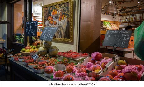PARIS - DEC 13: A central Paris fruit shop is open for business late in the day on December 13, 2014, in Paris France.