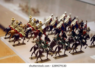 PARIS - DEC 5, 2018 - Cavalry miniature toy solider collection in  Les Invalides Army Museum, Paris, France