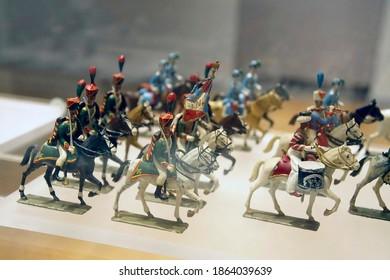 PARIS - DEC 5, 2018 - Cavalry miniature toy solider collection in  Les Invalides Army Museum, Paris, France