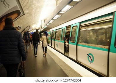 PARIS - DEC 5, 2018 - Metro train in underground station in Paris, France