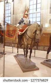 PARIS - DEC 5, 2018 - Mounted French cavalry display in Les Invalides Army Museum, Paris, France