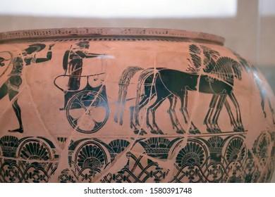 PARIS - DEC 6, 2018 - Black on red Greek vase, Museum de Louvre, Paris, France
