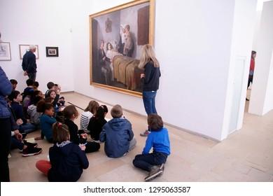 PARIS - DEC 6, 2018 - Students on field trip to the Picasso National Museum, Paris, France