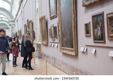 PARIS - DEC 6, 2018 -  Teenage students on field trip at the Museum de Louvre, Paris, France