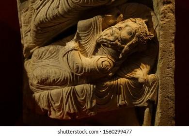 PARIS - DEC 7, 2018 - Gothic carved column capital, Cluny Museum de Moyen Age, Paris, France