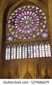 PARIS - DEC 7, 2018 - Rose stained glass window in Cathedral of Notre Dame, Paris, France