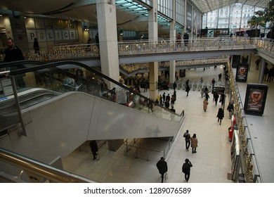 PARIS - DEC 8, 2018 - Christmas decorations in the concourse of the Gare du Nord, Paris, France