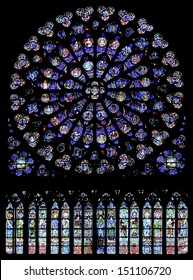 PARIS - DECEMBER 18: The North Rose window at Notre Dame cathedral dates from 1250 and is also 12.9 meters in diameter. Its main theme is the  Old Testament. Shot in Paris, December 18, 2012