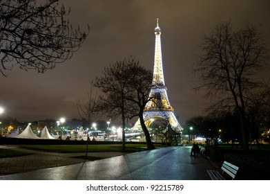 PARIS - DECEMBER 29: Tour de Eiffel on December 29, 2011 in Paris. Built in 1889. One of the most recognizable structures in the world. Located on the Champ de Mars. Nickname La dame de fer.