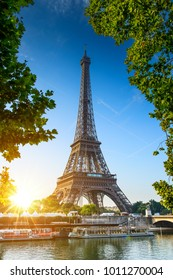 Paris Eiffel Tower at beautiful sunny day. Romantic peaceful atmosphere