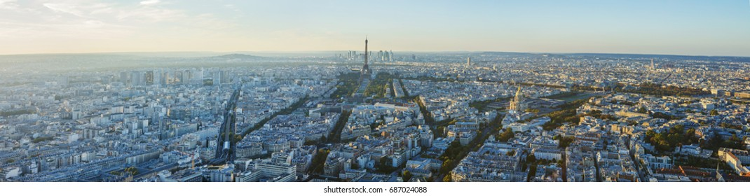 Paris, Eiffel tower, at evening sunset blue hour. View from Montparnasse. Panorama