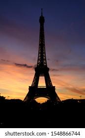 Paris Eiffel Tower in sunset