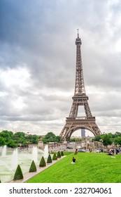 Paris, The Eiffel Tower and Trocadero Gardens.