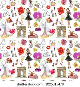 Paris fashion set seamless background. women Shopping in Paris.