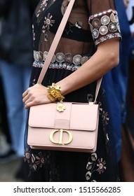 Paris Fashion Week Women SS 2020 - Christian Dior Spring/Summer 2020, in Paris, France  on September 24, 2019. Dior Bag, pink, detail