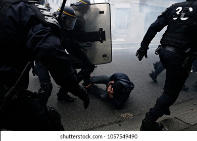 Paris, Feance June 4,2016.Antifascists clashed with riot police during march in the 3rd anniversary of the death of young far-left activist Clement Meric who died in a fight with skinheads in Paris.