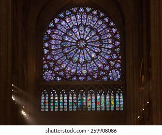 PARIS â?? FEBRUARY 16 : interiors and architectural details of cathedral Notre Dame de Paris,   FEBRUARY 16, 2013 in Paris, France.