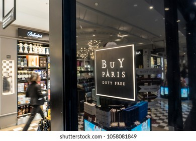 PARIS -FEBRUARY 2018: In Charles de Gaulle Duty Free shop