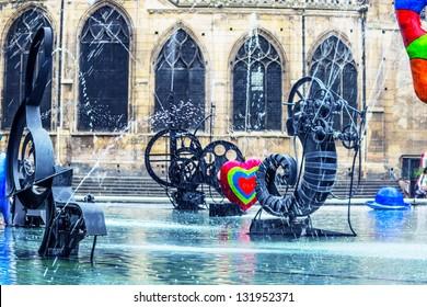 Paris, fountain at Centre Pompidou, National Modern Art Museum