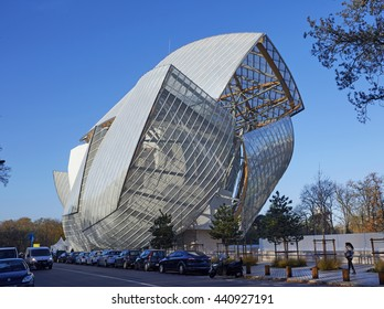 PARIS, FRANC-9TH DECEMBER 2015. The Louis Vuitton Foundation building in Paris. This building was designed by Frank Gehry, opened in 2014 is an art center and cultural center