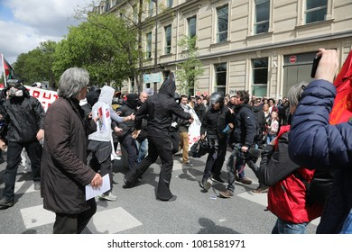 Paris, France - 01 May 2018 Thousands of people take to the streets during the May Day demonstrations. French Black Blocs.
