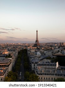 Paris France - 02 08 2019: Sunset in Paris