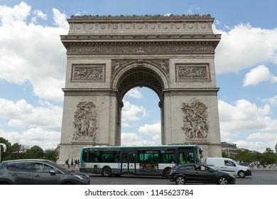 PARIS, France 02 June 2018: : The Triumphal Arch de l Etoile arc de triomphe . The monument was designed by Jean Chalgrin in 1806 in Paris