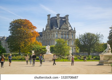 PARIS, FRANCE - 02 OCTOBER 2018: People in Tulieries garden, one of the most popular parks in Paris