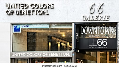 Paris, France 03-17-2012: Facade of United Colors of Benetton store in champ elisee, Paris