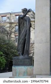 Paris, France 03.24.2017: Monument of Human Rights (Monument des Droits de l'Homme, 1989) in Paris gardens of Champ-de-Mars
