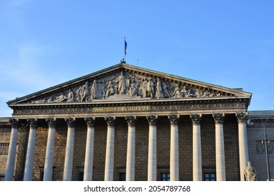 Paris, France 03.26.2017: view across the Seine river to the Assemblee Nationale, the government building of France