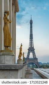Paris, France - 04 25 2020: View of the Eiffel Tower from the Trocadero esplanade during the coronavirus period