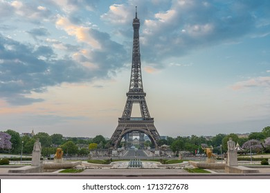 Paris, France - 04 25 2020: View of the Eiffel Tower from the Trocadero garden with flowering trees during the coronavirus period