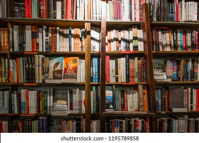 Paris / France - 04-06-2014: Shelves of a library. English-language book