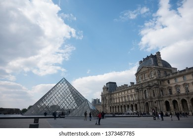 Paris, France 04-13-2019: Piramid Louvre Museum