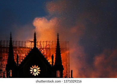 Paris, France - 04-15-2019: Huge fire sweeps through Notre Dame Cathedral
