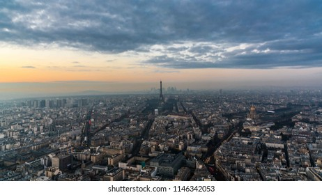 Paris, France - 04.24.2016: View of Paris and the Eiffel Tower during sunset from the Montparnasse Tower