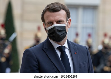 Paris, FRANCE - 04th february 2021 : The French president Emmanuel Macron with his surgical mask against covid-19 in press conference in the courtyard of the Élysée with of Presidente of Moldova.