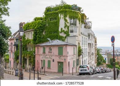 Paris, France - 05 09 2020: Montmartre district. The pink house during confinement against coronavirus