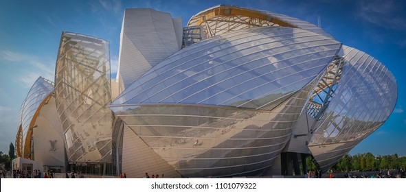 Paris, France - 05 19 2018: Louis-Vuitton Foundation. Building of glass