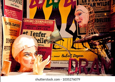 Paris, France- 05.03.12- Abstract vintage window of a shop for drama and theatre in Montmartre