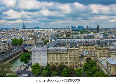 Paris, France - 05/10/2010 - Paris, France - Notre Dame - Aerial View of Paris