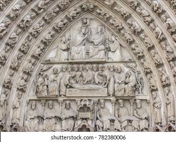Paris, France - 05/10/2010 - Paris, France - Notre Dame Portal of Mary