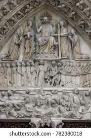 Paris, France - 05/10/2010 - Paris, France - Notre Dame Last Judgment Portal