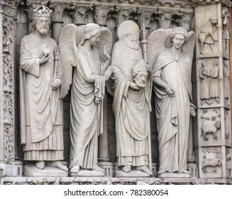 Paris, France - 05/10/2010 - Paris, France - Notre Dame Beheaded Saint Dennis Statue