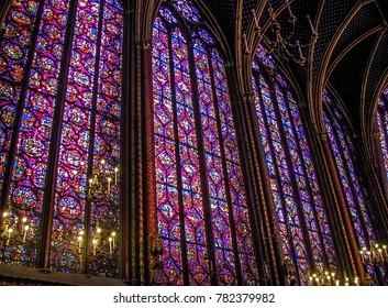 Paris, France - 05/10/2010 - Paris, France - Sainte Chapelle - Stained Glass
