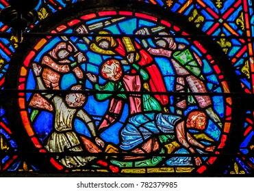 Paris, France - 05/10/2010 - Paris, France - Sainte Chapelle - Stained Glass Detail