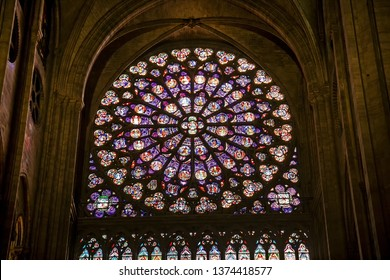 PARIS, FRANCE - 08 Oct 2018: Stained glass in Notre-Dame Cathedral