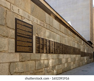 PARIS, FRANCE - 08/02/2018:   The Wall of the Righteous at the Shoah Memorial at the Holocaust museum
